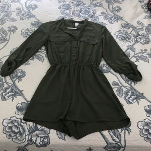 Green Button-Up Long-Sleeve Romper